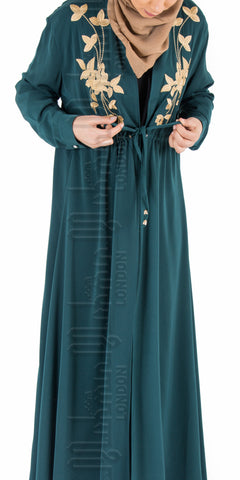Madiha Floral Embroidered Kimono (Bottle Green) - Muhmin1