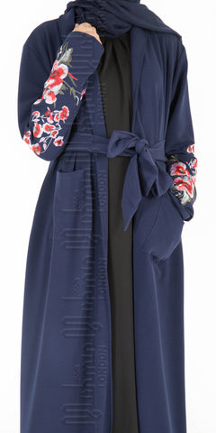 Aleena Embroidered Kimono Coatigan (Navy)