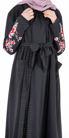 Aleena Embroidered Kimono Coatigan (Black)