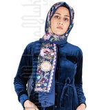 Embroidered Hijab (Blue) - Muhmin1