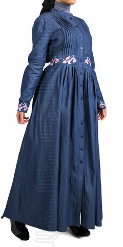 Salena Denim Abaya Dress (Blue) - Muhmin1