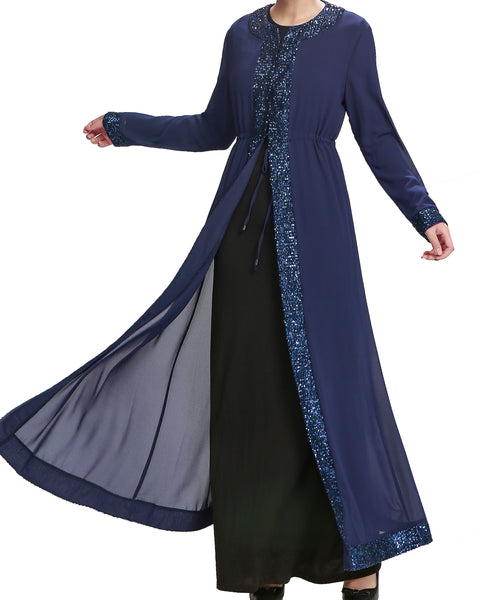 Zaynah Pleated Abaya (Black)