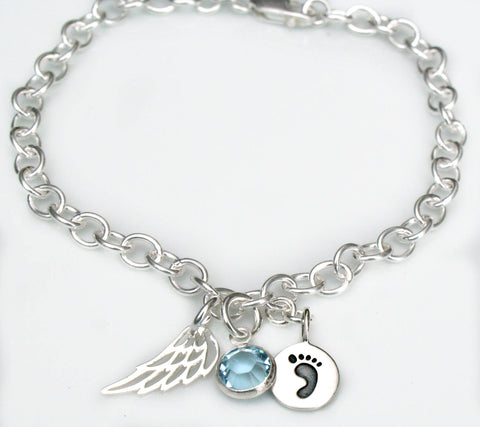 Silver Angel Wing Memorial Charm Bracelet with Birthstone