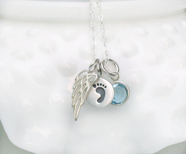 Silver Angel Wing Memorial Necklace with Birthstone
