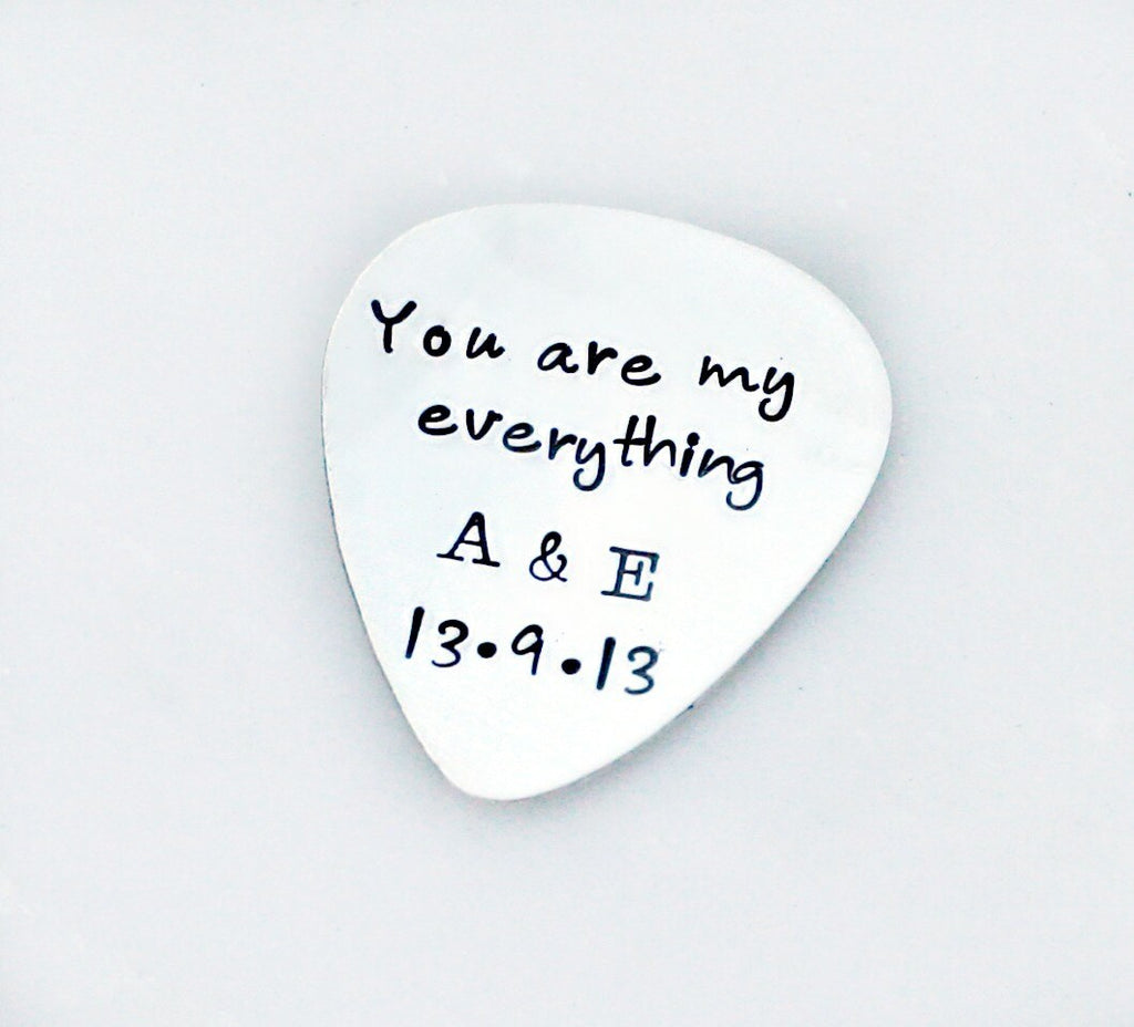 Hand Stamped Guitar Pick - Custom Guitar Pick - Sterling Silver Guitar Pick - Mens Gift