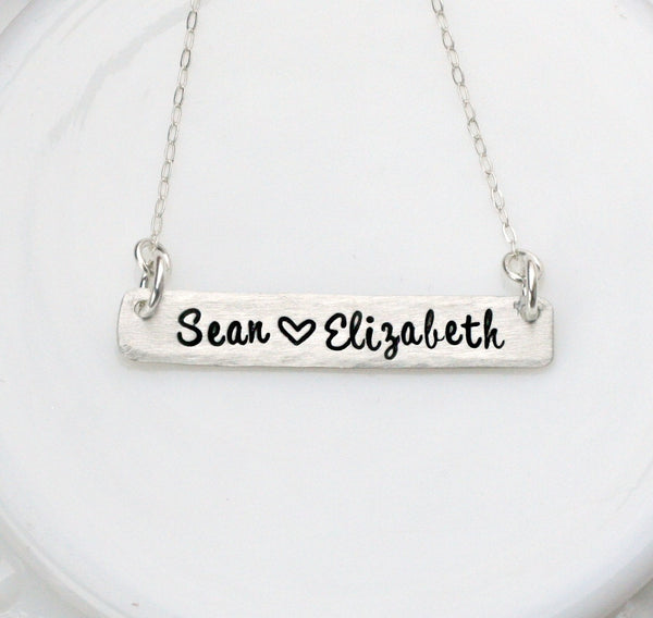 Silver Bar Necklace - Name Necklace - Sterling Silver Nameplate - Personalized Jewelry