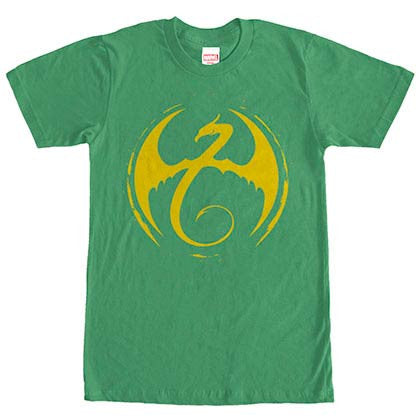 Marvel Teams Iron Fist Logo Green Mens T-Shirt