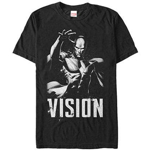 Marvel Grunge Vision Black Mens T-Shirt