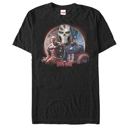 Captain America: Civil War Three Sides Black Mens T-Shirt