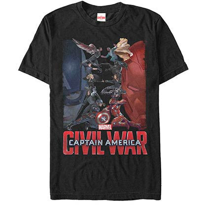 Captain America: Civil War Civil War Roster Black Mens T-Shirt