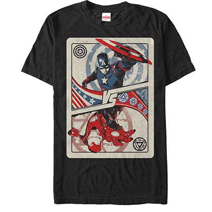 Captain America: Civil War Top Players Black Mens T-Shirt