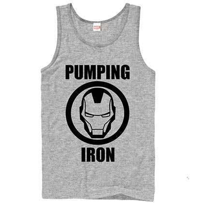 Iron Man Pump Gray Mens Tank Top