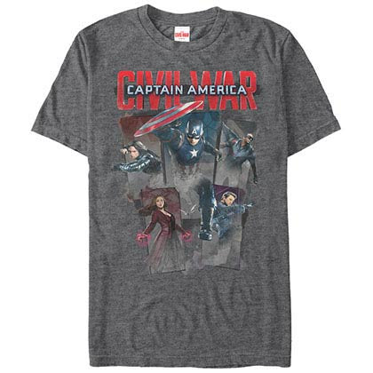 Captain America: Civil War Cap Five Gray Mens T-Shirt