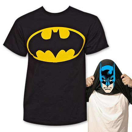 Batman Face Flip-Up Reversible Tee Shirt - Black
