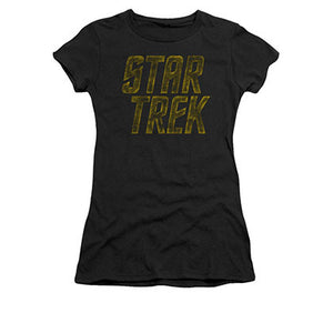 Star Trek Distressed Logo Black Juniors T-Shirt