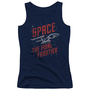 Star Trek Space Travel Blue Juniors Tank Top