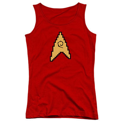 Star Trek 8 Bit Engineering Red Juniors Tank Top