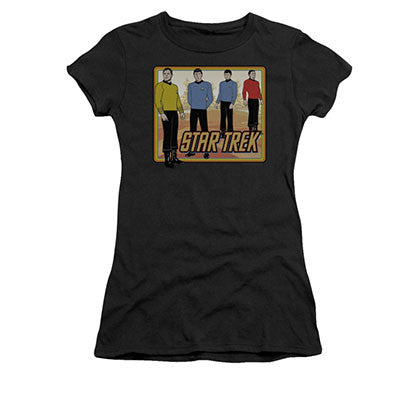 Star Trek TOS Classic Black Juniors T-Shirt