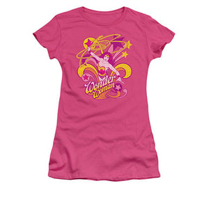 Wonder Woman Save Me Hot Pink Juniors T-Shirt