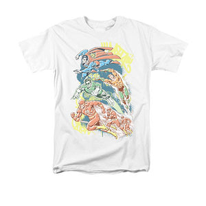 Justice League Halftone White Tee Shirt