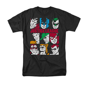 Justice League Blocks Black Tee Shirt