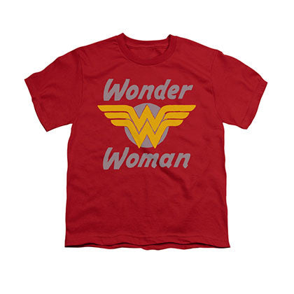 Wonder Woman Wings Logo Red Youth Unisex T-Shirt