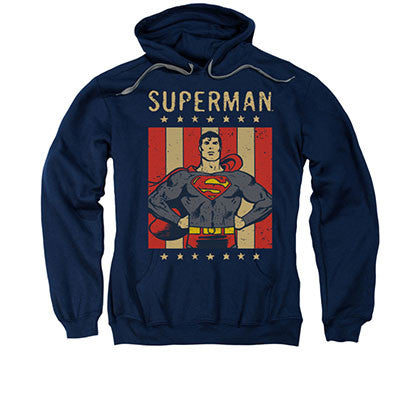 Superman Retro Liberty Blue Pullover Hoodie