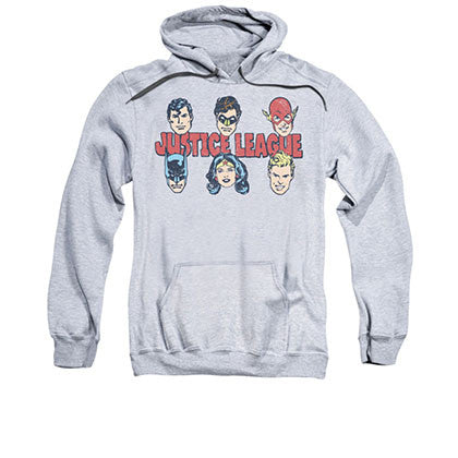 Justice League Men's Gray Lineup Pullover Hoodie
