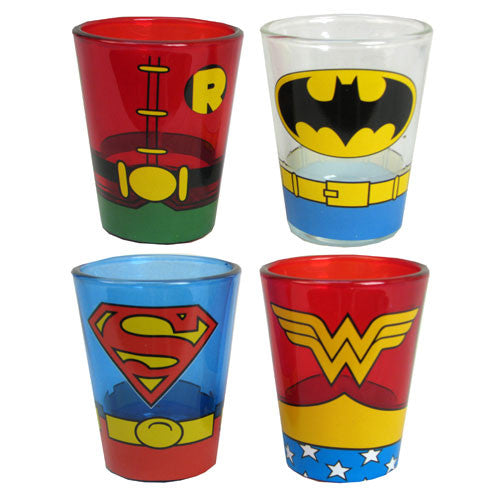 DC Comics Uniform Mini Glass 4 Pack