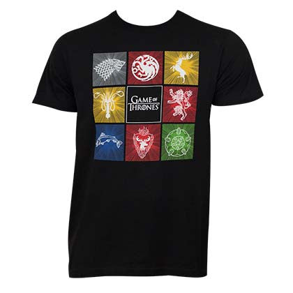 Game Of Thrones Black Men's Squares Tee Shirt