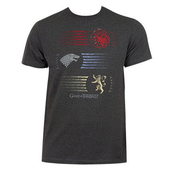 Game Of Thrones Grey Men's Stripes Logo Tee Shirt