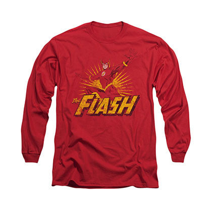 The Flash Rough Distress Red Long Sleeve T-Shirt