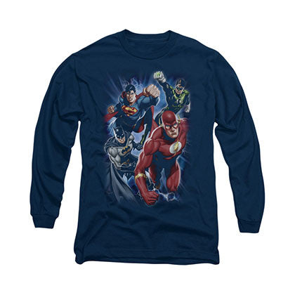 Justice League Storm Chasers Blue Long Sleeve T-Shirt