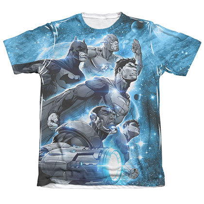 Justice League Men's Blue Sublimation Atmospheric Tee Shirt
