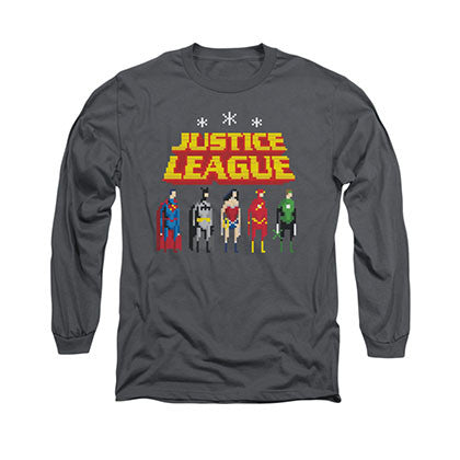 Justice League Standing Below 8-Bit Gray Long Sleeve T-Shirt
