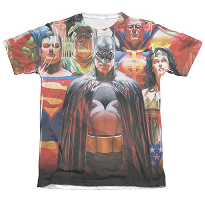 Justice League Wall Of Heroes Sublimation White T-Shirt