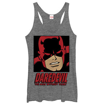 Daredevil Man Without Fear Gray Heather Juniors Tank Top