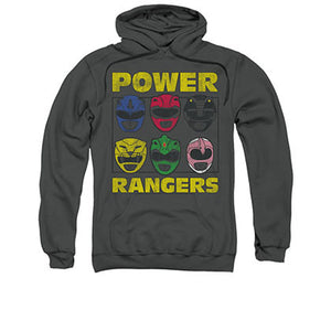 Power Ranger Heads Gray Pullover Hoodie