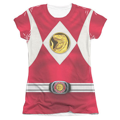 Power Rangers Emblem Costume Red Sublimation Juniors T-Shirt