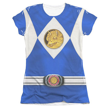 Power Rangers Emblem Costume Blue Sublimation Juniors Tee Shirt