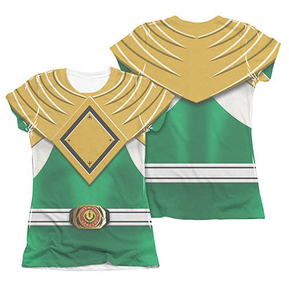Power Rangers Emblem Costume Green Sublimation Juniors T-Shirt