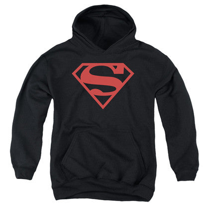 Superman Red and Black Logo Youth Hoodie