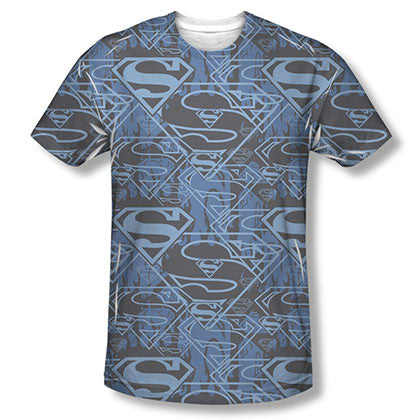 Superman Shielded Sublimation Blue T-Shirt