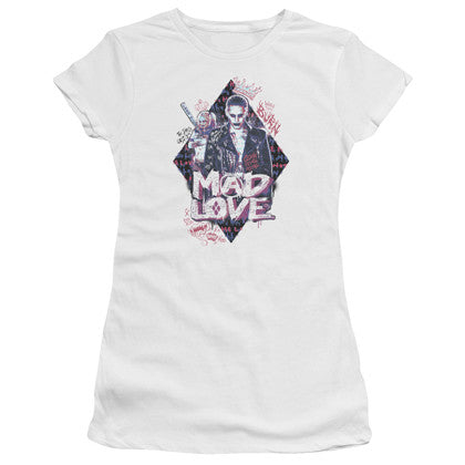 Suicide Squad Joker and Harley Quinn Mad Love Women's White Shirt