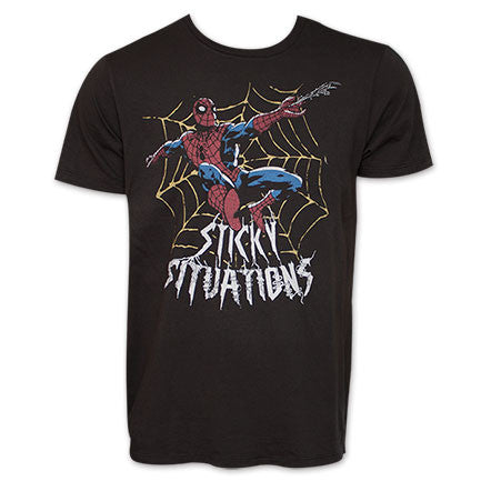 Spider-Man Sticky Situations Junk Food Vintage Marvel TShirt - Black