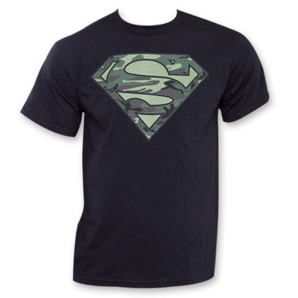 Superman Camouflage Army Shield Logo T-Shirt