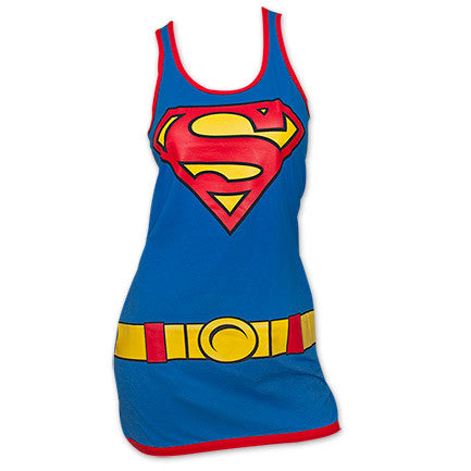 Superman Costume Womens Tank Top Dress - Blue