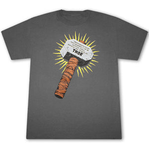 Thor Whosoever Holds This Hammer Grey Graphic Tee Shirt
