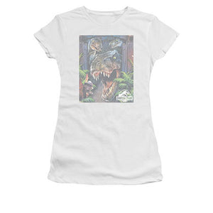 Jurassic Park Juniors White Giant Door Tee Shirt