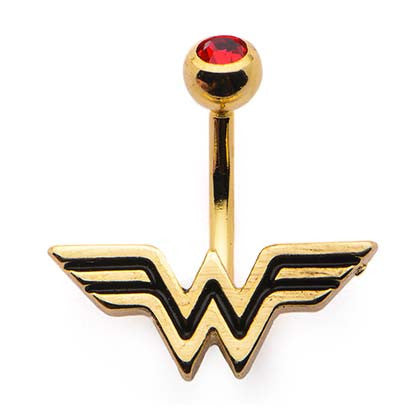 Wonder Woman Gold Plated Red CZ Navel Belly Button Ring